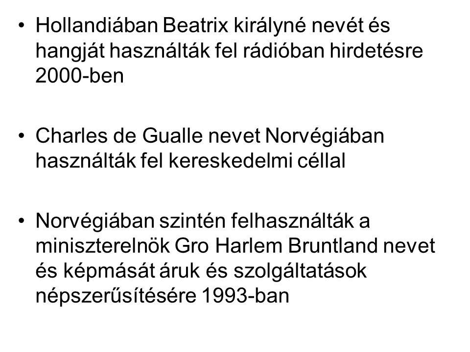 Hollandiában Beatrix királyné nevét és hangját használták fel rádióban hirdetésre 2000-ben