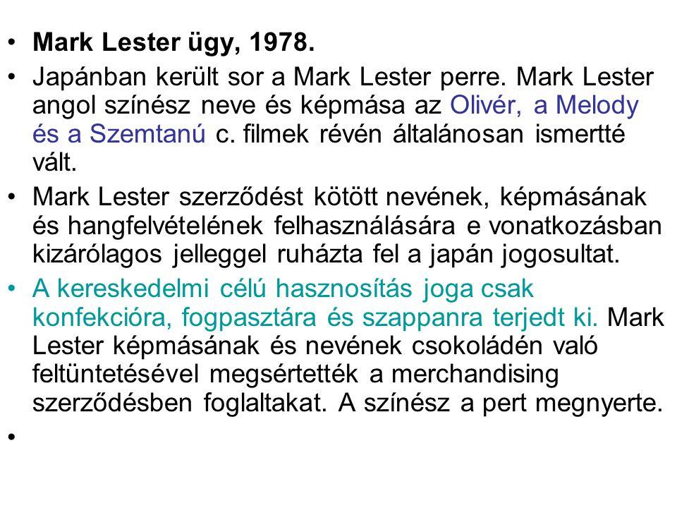 Mark Lester ügy, 1978.