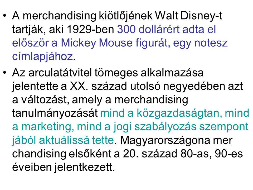 A merchandising kiötlőjének Walt Disney-t tartják, aki 1929-ben 300 dollárért adta el először a Mickey Mouse figurát, egy notesz címlapjához.