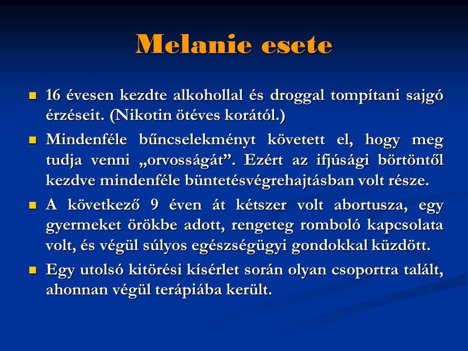 Melanie esete 16 évesen kezdte alkohollal és droggal tompítani sajgó érzéseit. (Nikotin ötéves korától.)