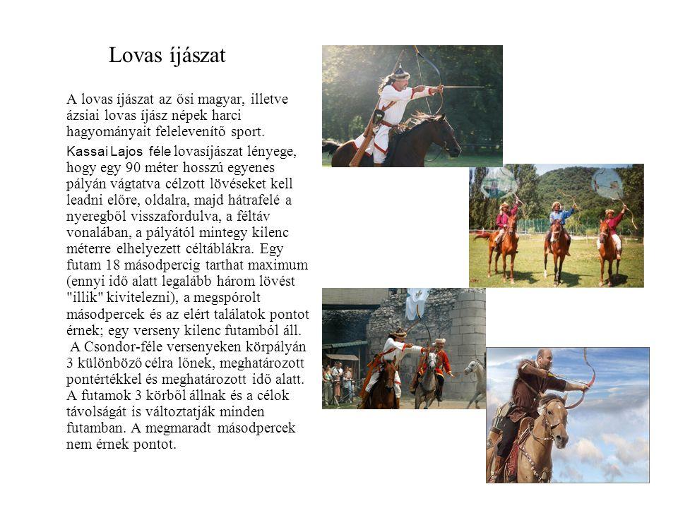 Lovas íjászat A lovas íjászat az ősi magyar, illetve ázsiai lovas íjász népek harci hagyományait felelevenítő sport.
