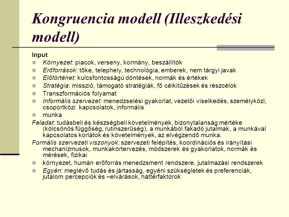 Kongruencia modell (Illeszkedési modell)
