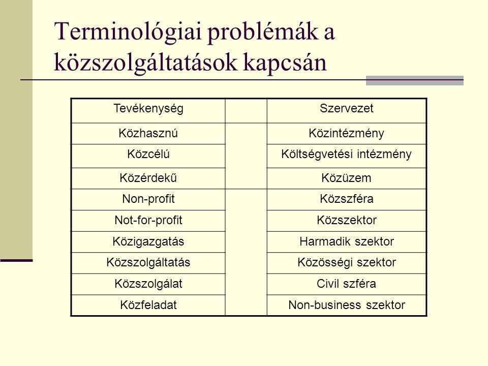 Terminológiai problémák a közszolgáltatások kapcsán