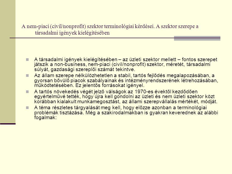 A nem-piaci (civil/nonprofit) szektor terminológiai kérdései