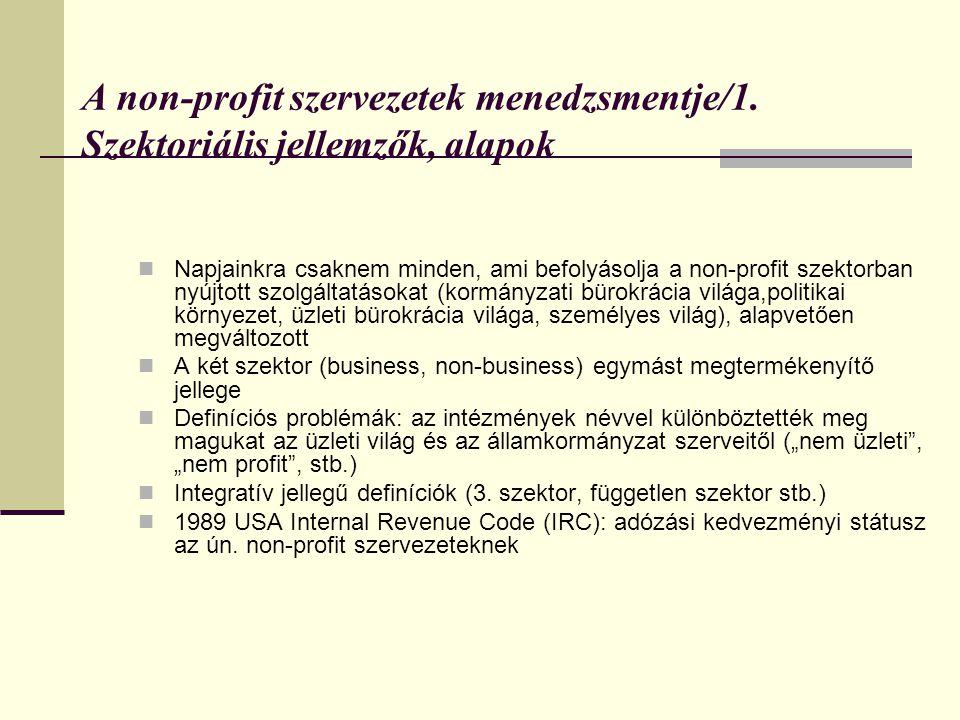 A non-profit szervezetek menedzsmentje/1