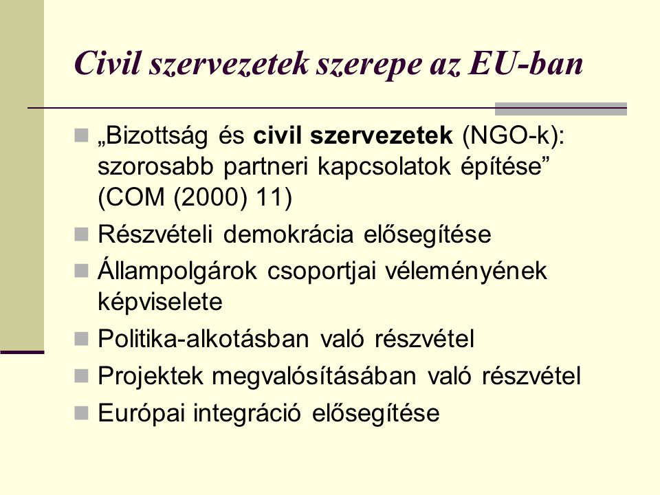 Civil szervezetek szerepe az EU-ban