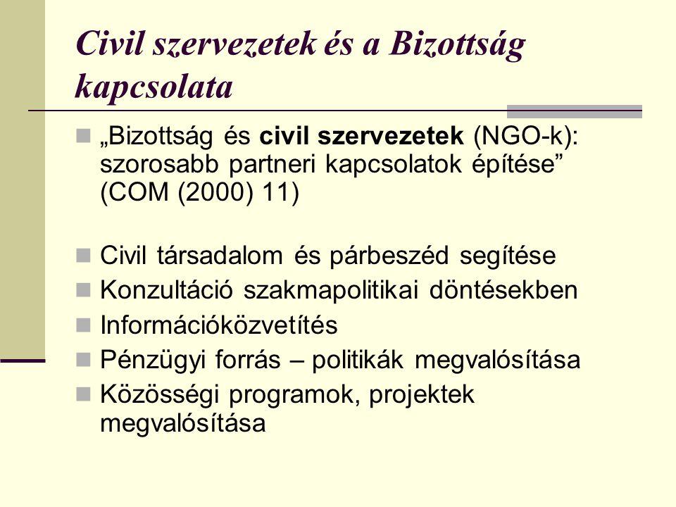 Civil szervezetek és a Bizottság kapcsolata