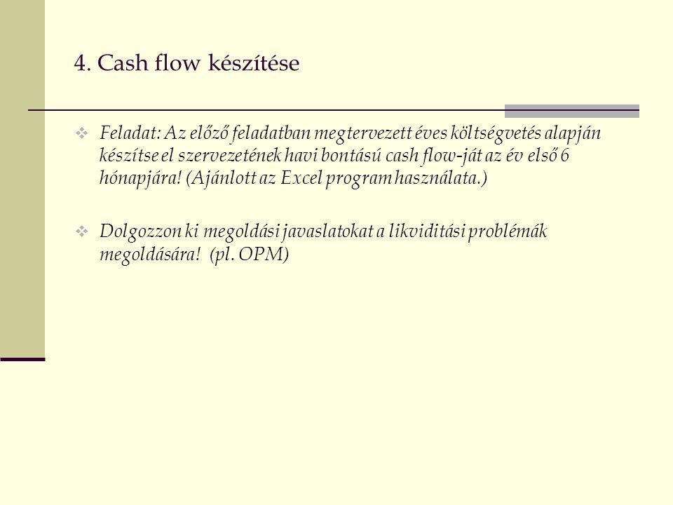 4. Cash flow készítése