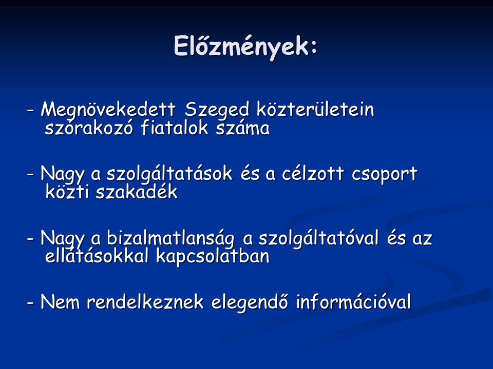 Előzmények: - Megnövekedett Szeged közterületein szórakozó fiatalok száma. - Nagy a szolgáltatások és a célzott csoport közti szakadék.