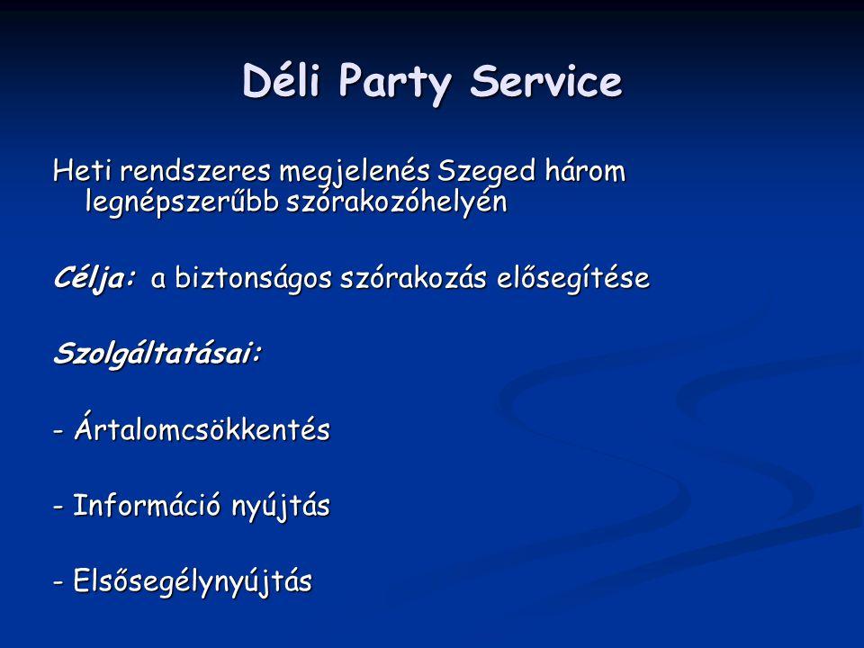 Déli Party Service Heti rendszeres megjelenés Szeged három legnépszerűbb szórakozóhelyén. Célja: a biztonságos szórakozás elősegítése.
