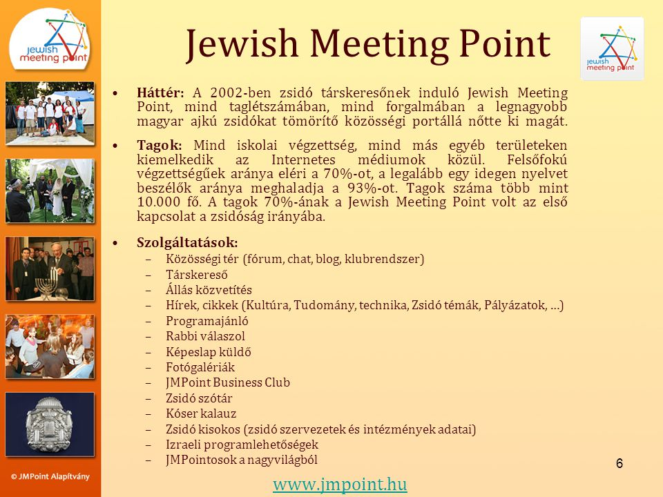 Jewish Meeting Point www.jmpoint.hu