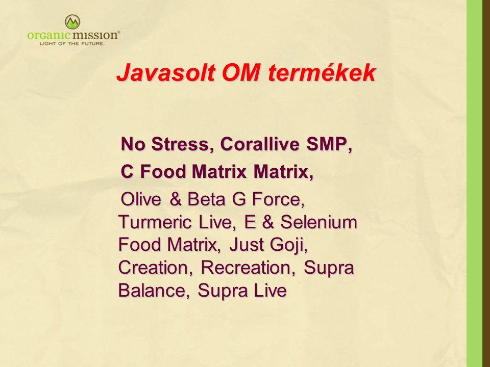 Javasolt OM termékek No Stress, Corallive SMP, C Food Matrix Matrix,