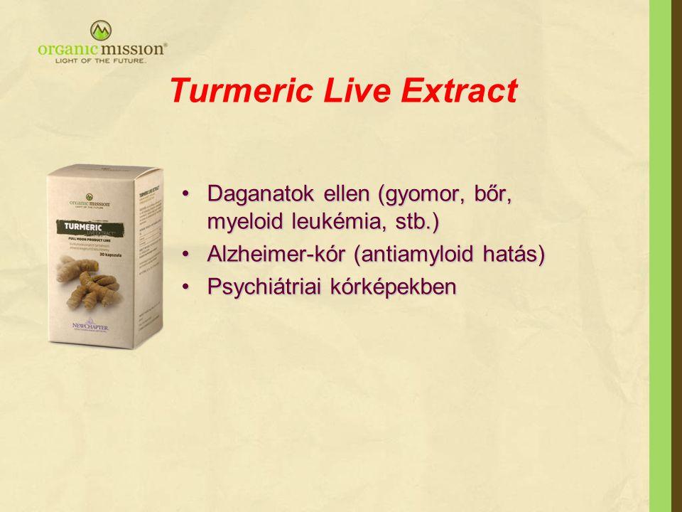 Turmeric Live Extract Daganatok ellen (gyomor, bőr, myeloid leukémia, stb.) Alzheimer-kór (antiamyloid hatás)