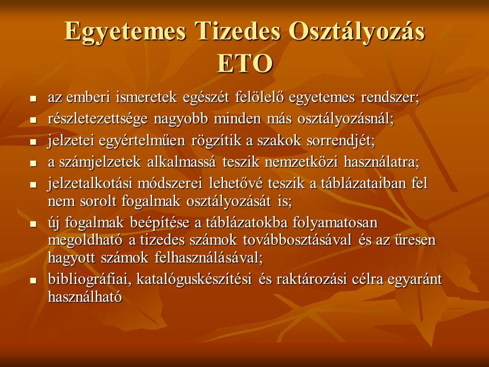 Egyetemes Tizedes Osztályozás ETO