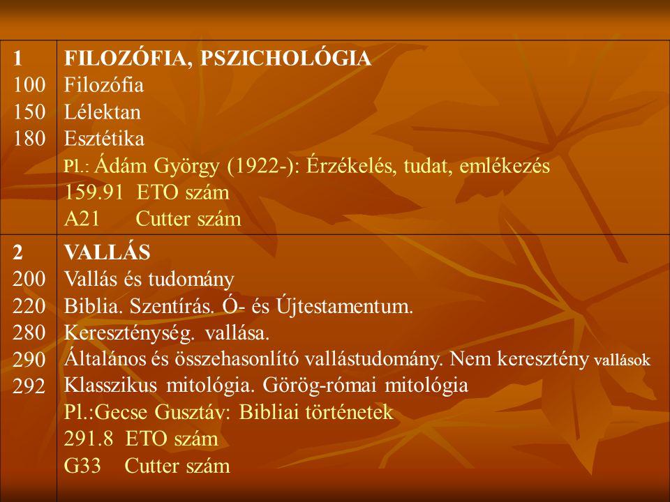 FILOZÓFIA, PSZICHOLÓGIA Filozófia Lélektan Esztétika 159.91 ETO szám