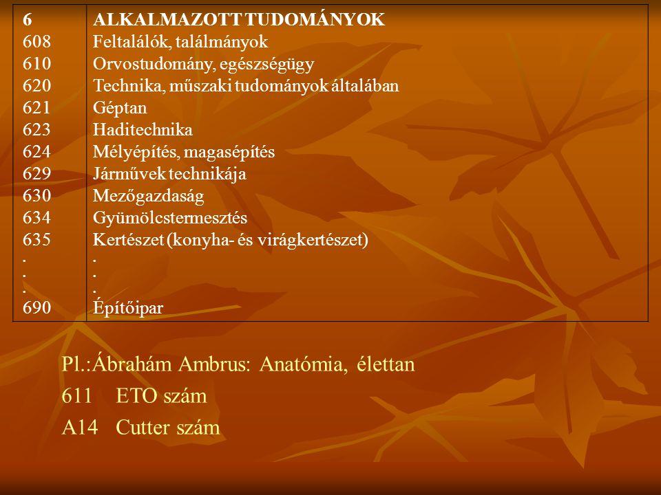 Pl.:Ábrahám Ambrus: Anatómia, élettan 611 ETO szám A14 Cutter szám