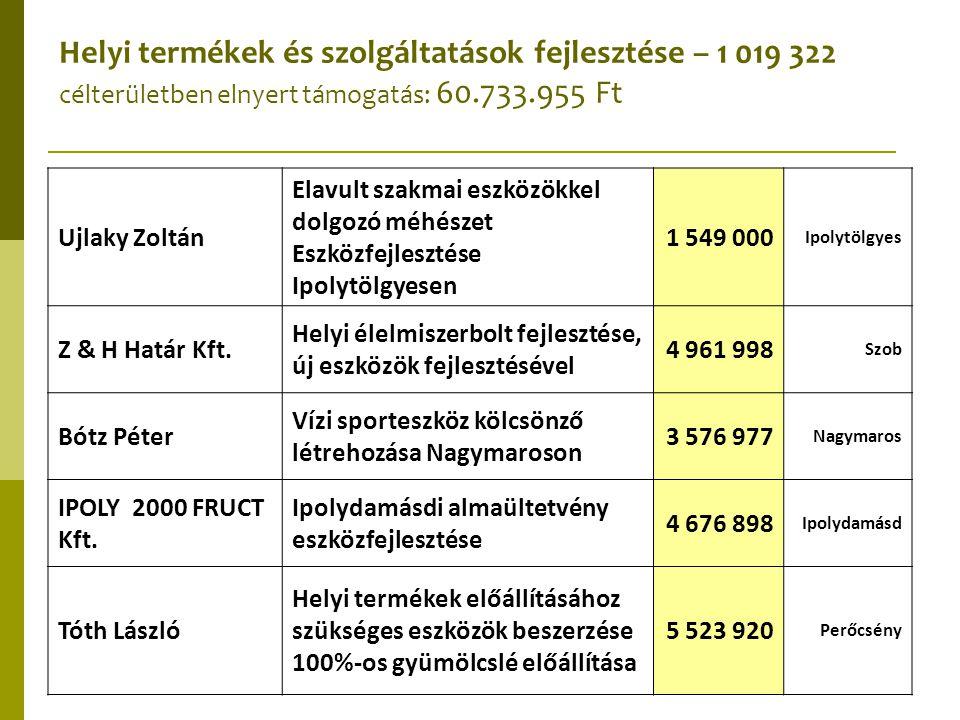 Helyi termékek és szolgáltatások fejlesztése – 1 019 322 célterületben elnyert támogatás: 60.733.955 Ft