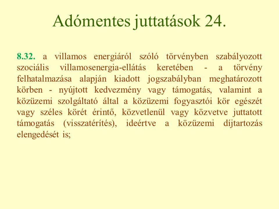 Adómentes juttatások 24.