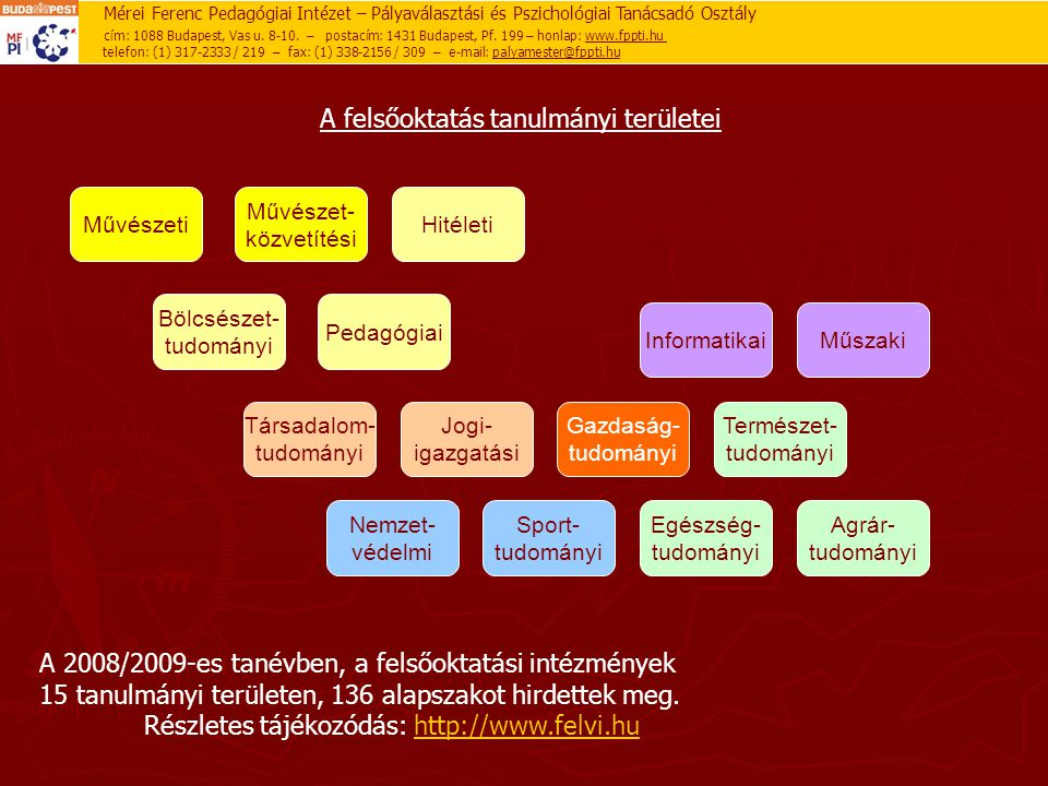 A felsőoktatás tanulmányi területei