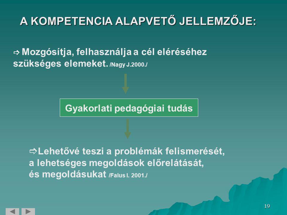 A KOMPETENCIA ALAPVETŐ JELLEMZŐJE: