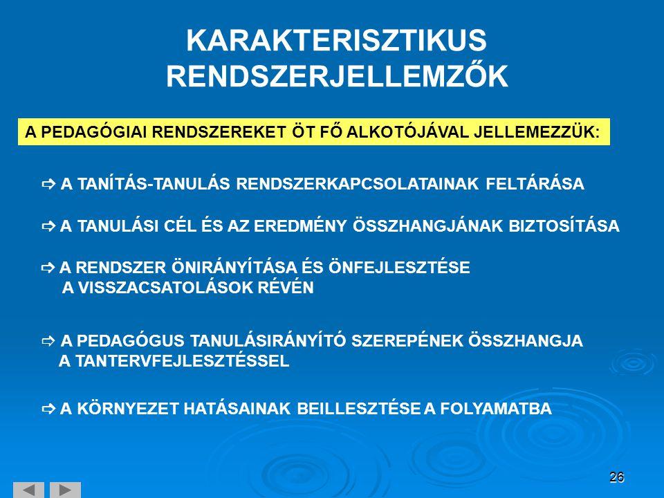 KARAKTERISZTIKUS RENDSZERJELLEMZŐK