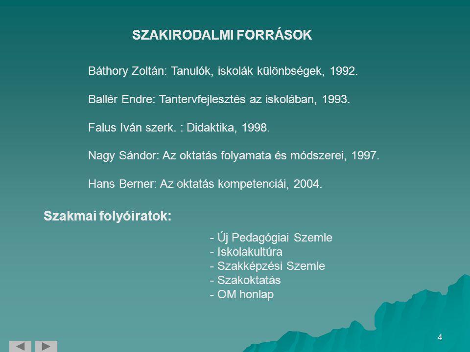 SZAKIRODALMI FORRÁSOK