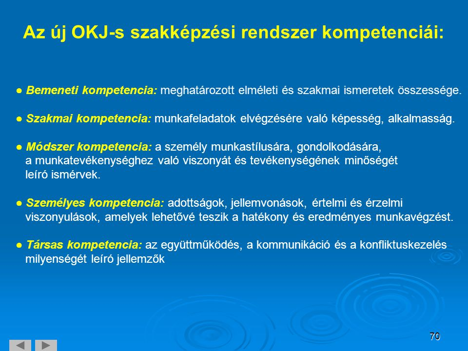 Az új OKJ-s szakképzési rendszer kompetenciái: