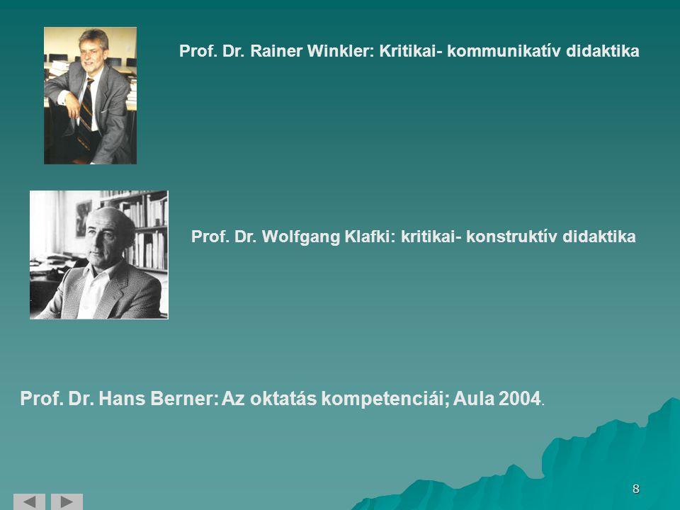 Prof. Dr. Hans Berner: Az oktatás kompetenciái; Aula 2004.
