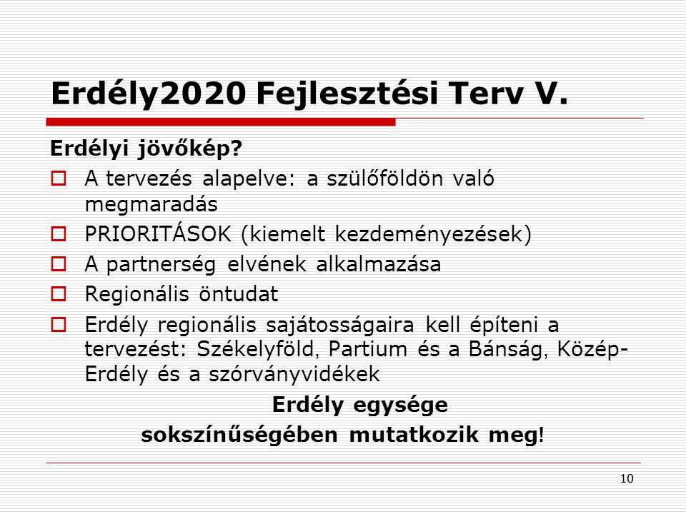 Erdély2020 Fejlesztési Terv V.