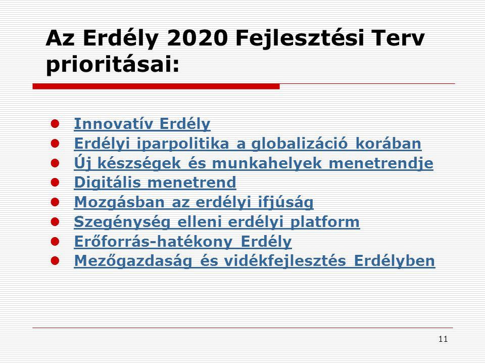 Az Erdély 2020 Fejlesztési Terv prioritásai: