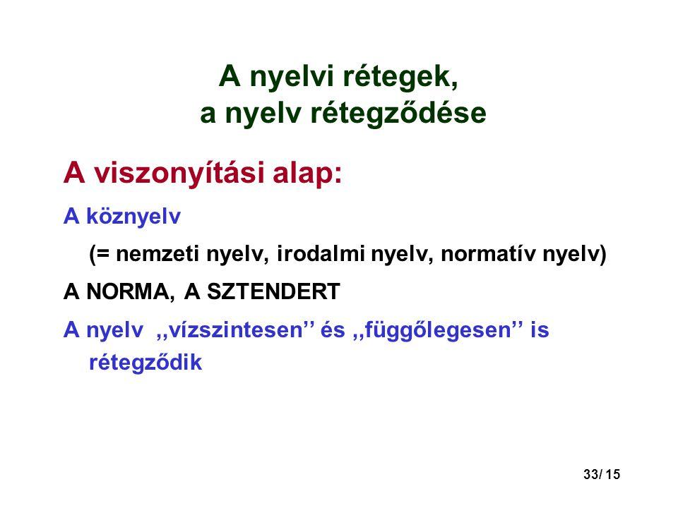 A nyelvi rétegek, a nyelv rétegződése
