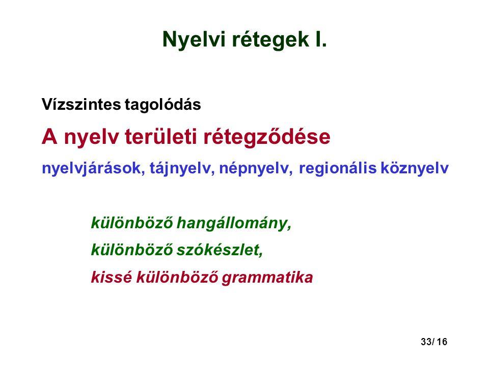 A nyelv területi rétegződése