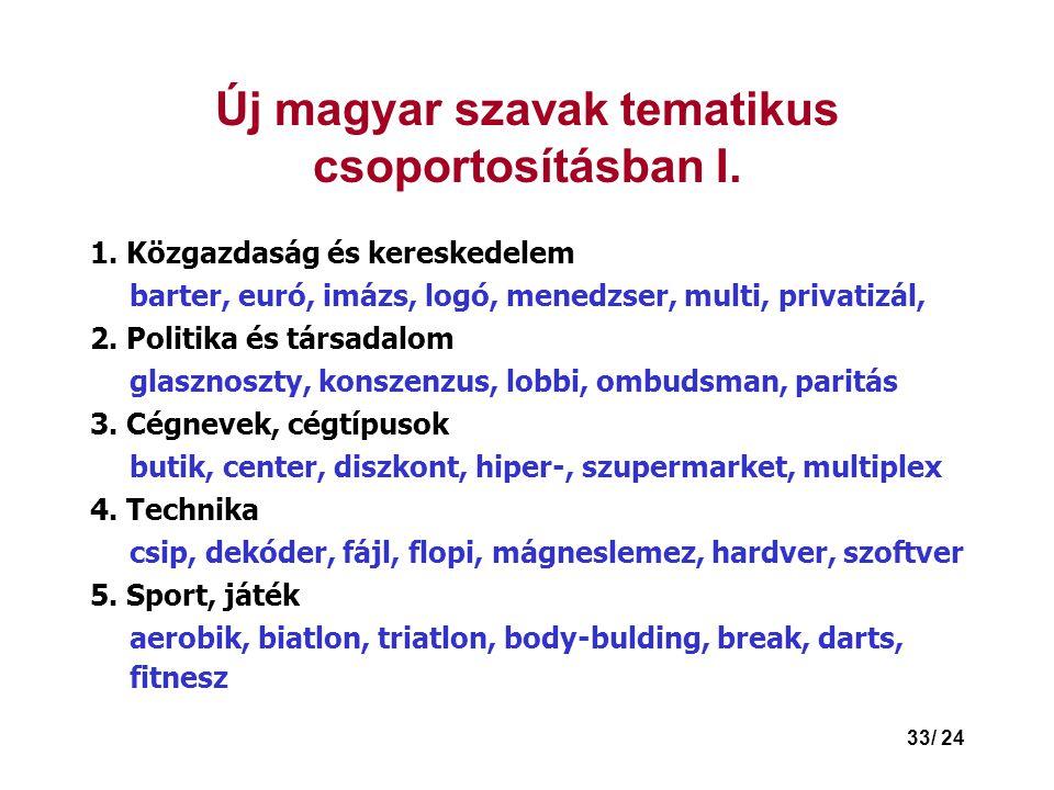 Új magyar szavak tematikus csoportosításban I.