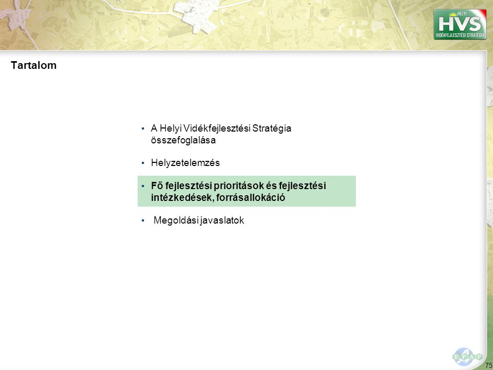 Kijelölt fő fejlesztési prioritások a térségben 1/1