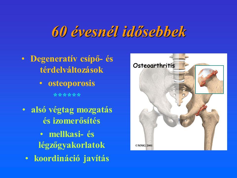 60 évesnél idősebbek Degeneratív csípő- és térdelváltozások
