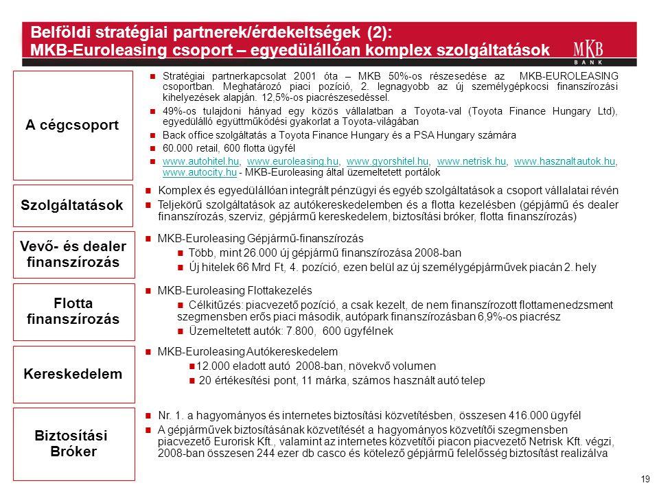 Belföldi stratégiai partnerek/érdekeltségek (2): MKB-Euroleasing csoport – egyedülállóan komplex szolgáltatások