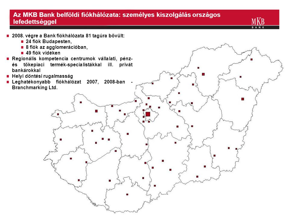 Az MKB Bank belföldi fiókhálózata: személyes kiszolgálás országos lefedettséggel