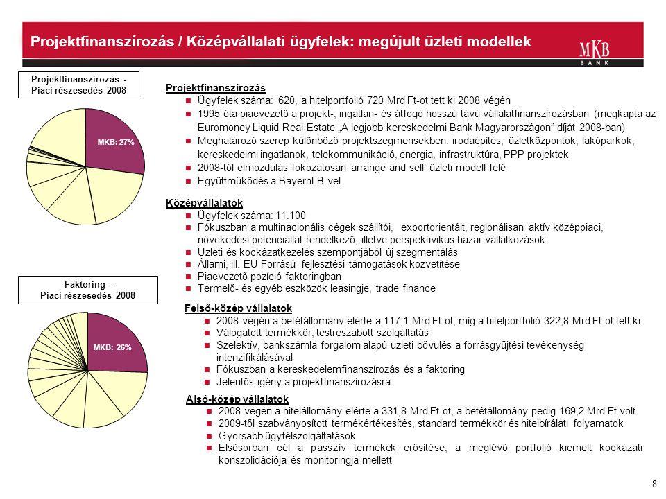 Projektfinanszírozás - Piaci részesedés 2008