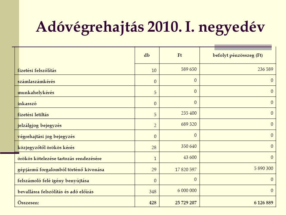 Adóvégrehajtás 2010. I. negyedév