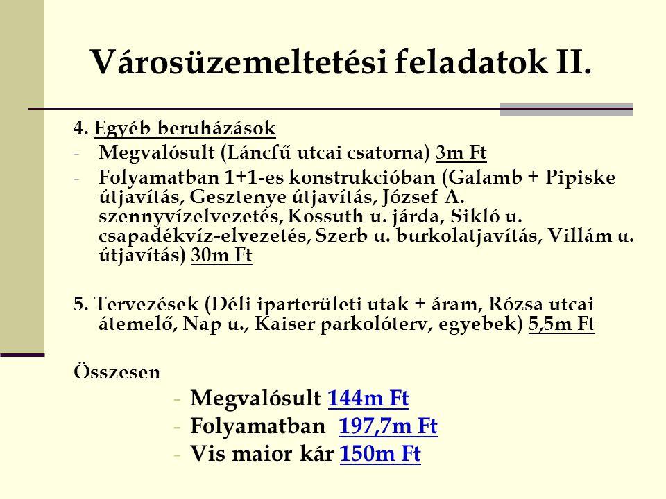 Városüzemeltetési feladatok II.