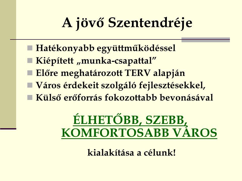 ÉLHETŐBB, SZEBB, KOMFORTOSABB VÁROS