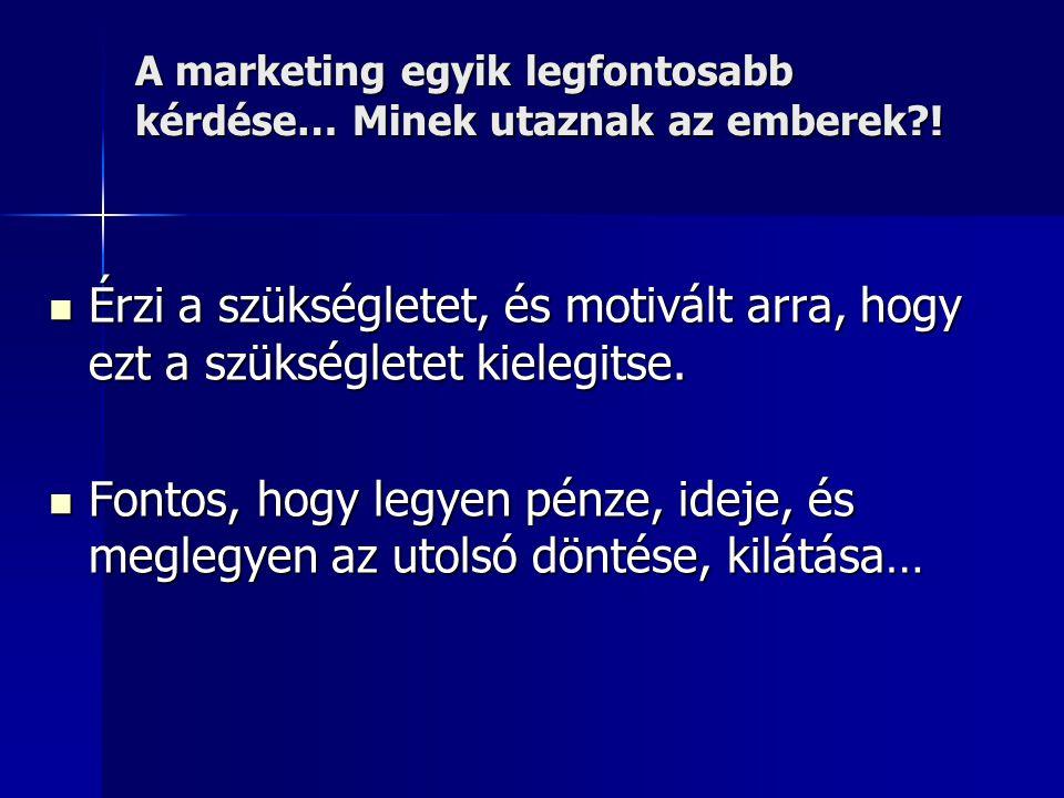 A marketing egyik legfontosabb kérdése… Minek utaznak az emberek !