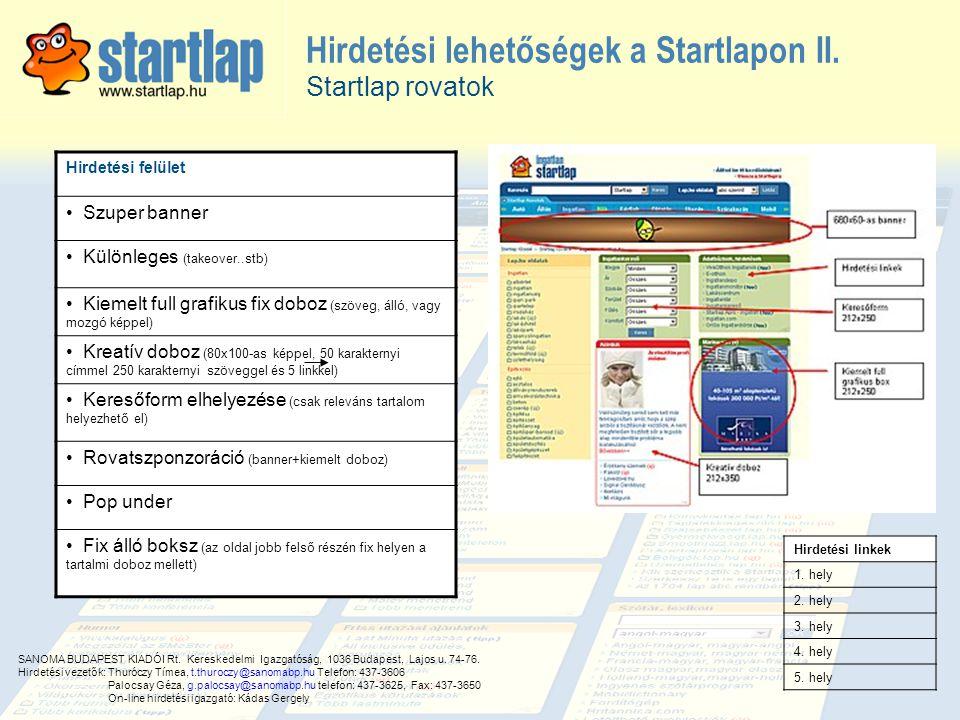 Hirdetési lehetőségek a Startlapon II.