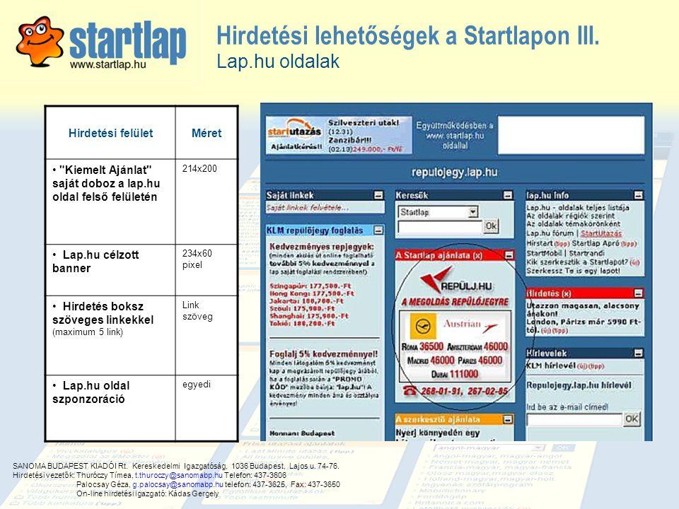 Hirdetési lehetőségek a Startlapon III.