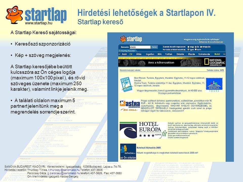 Hirdetési lehetőségek a Startlapon IV.
