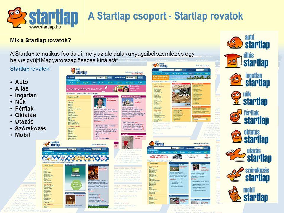 A Startlap csoport - Startlap rovatok