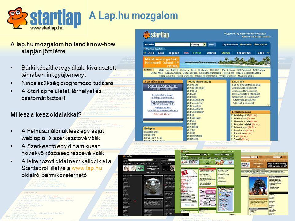 A Lap.hu mozgalom A lap.hu mozgalom holland know-how alapján jött létre. Bárki készíthet egy általa kiválasztott témában linkgyűjteményt.