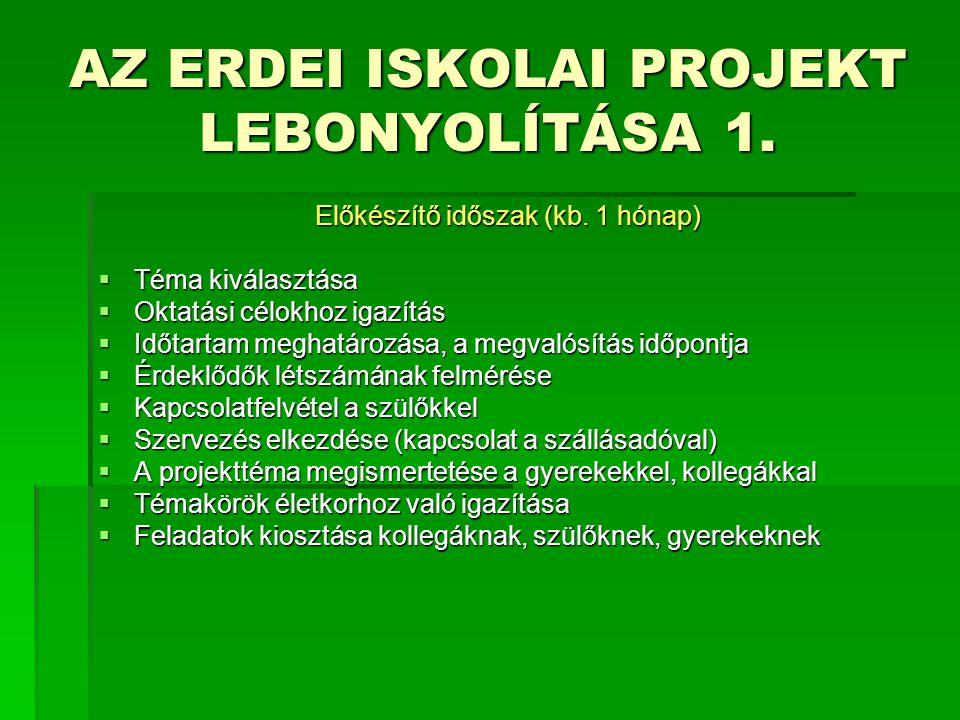 AZ ERDEI ISKOLAI PROJEKT LEBONYOLÍTÁSA 1.