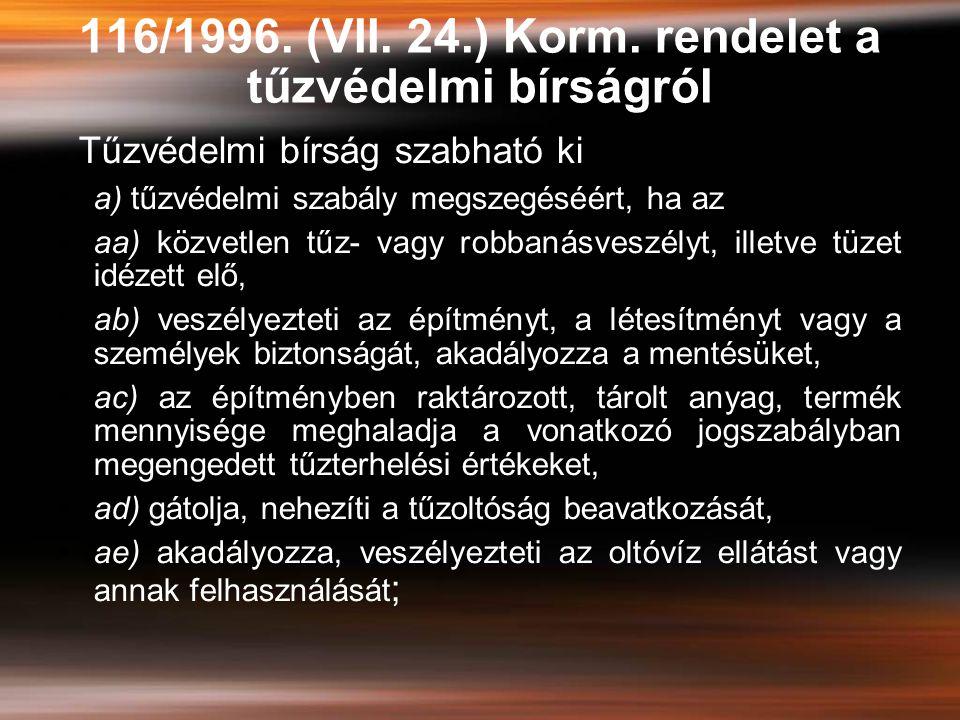 116/1996. (VII. 24.) Korm. rendelet a tűzvédelmi bírságról