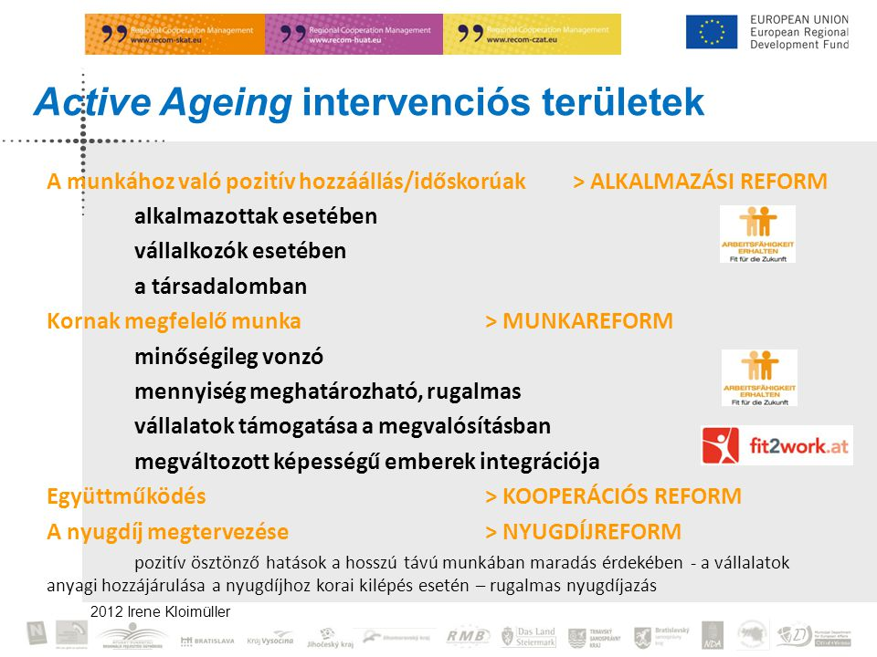 Active Ageing intervenciós területek